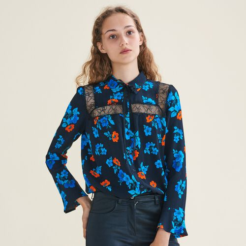 Printed blouse with lace - Tops - MAJE