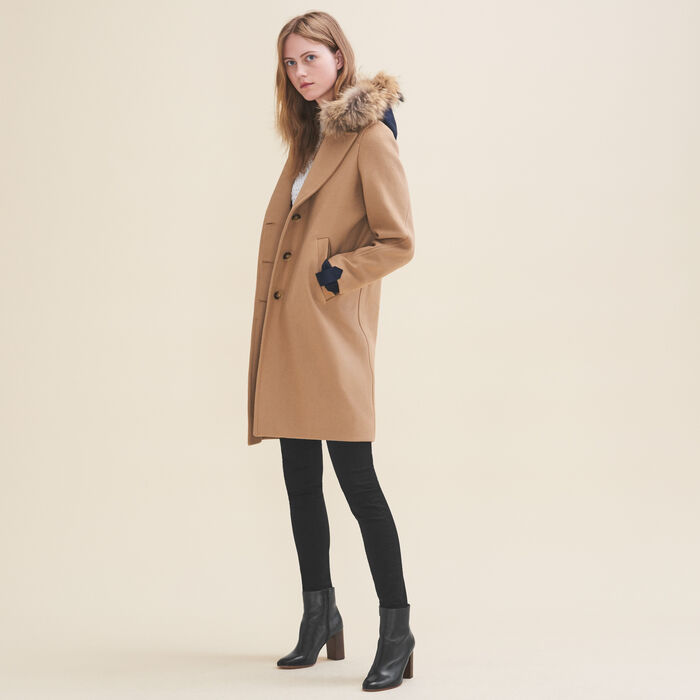 Long coat in wool and cashmere -  - MAJE