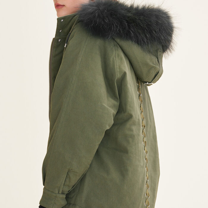Parka with fur hood -  - MAJE
