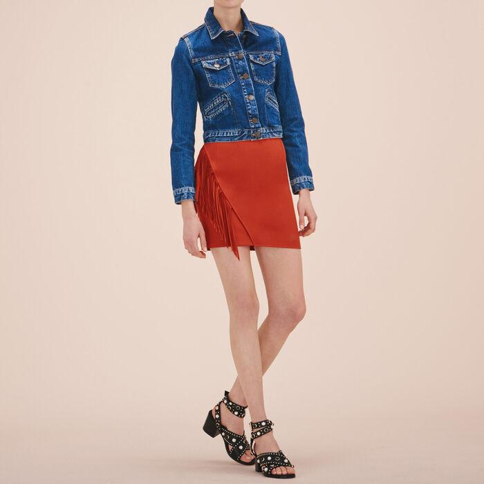 Fringed short skirt -  - MAJE