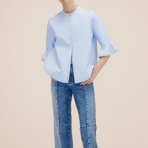 Striped poplin shirt - Tops - MAJE