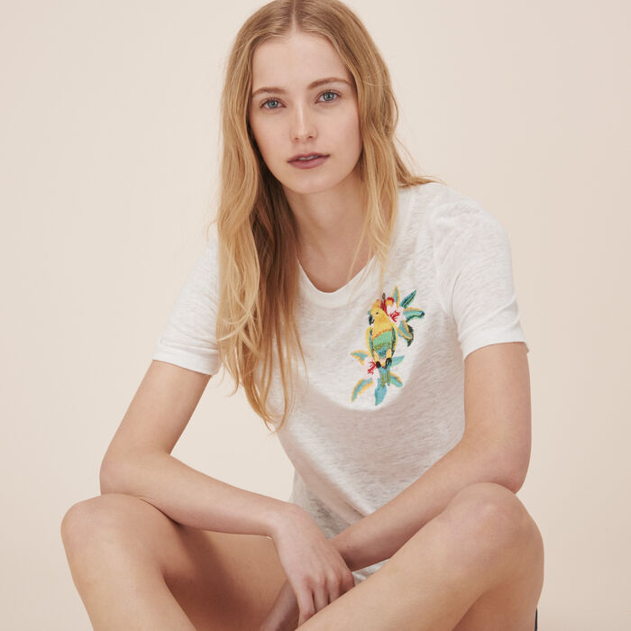 Embroidered linen T-shirt -  - MAJE