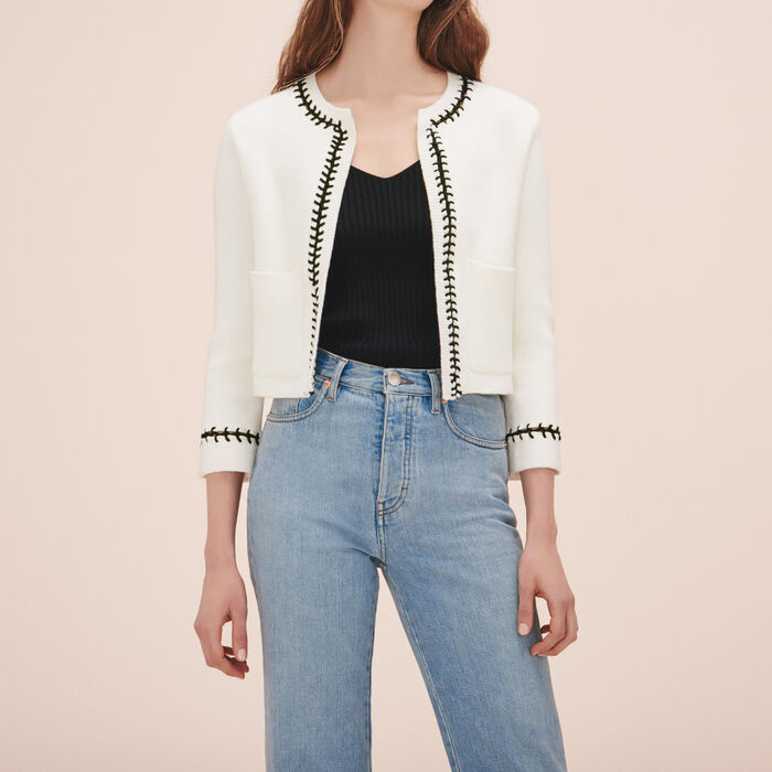 Cardigan with openwork detail - Knitwear - MAJE