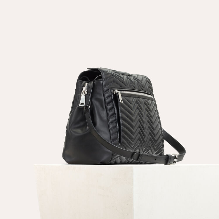 Quilted leather shoulder bag -  - MAJE