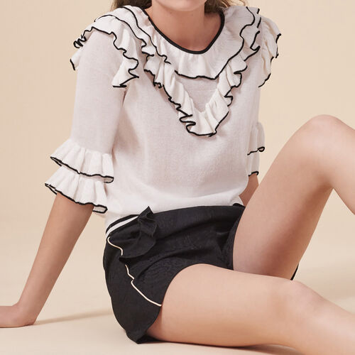 Frilled fine knit top - Knitwear - MAJE