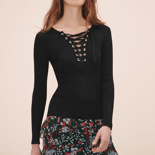 Locknit jumper with lacing - Knitwear - MAJE