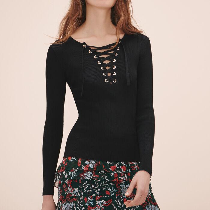 Locknit jumper with lacing -  - MAJE