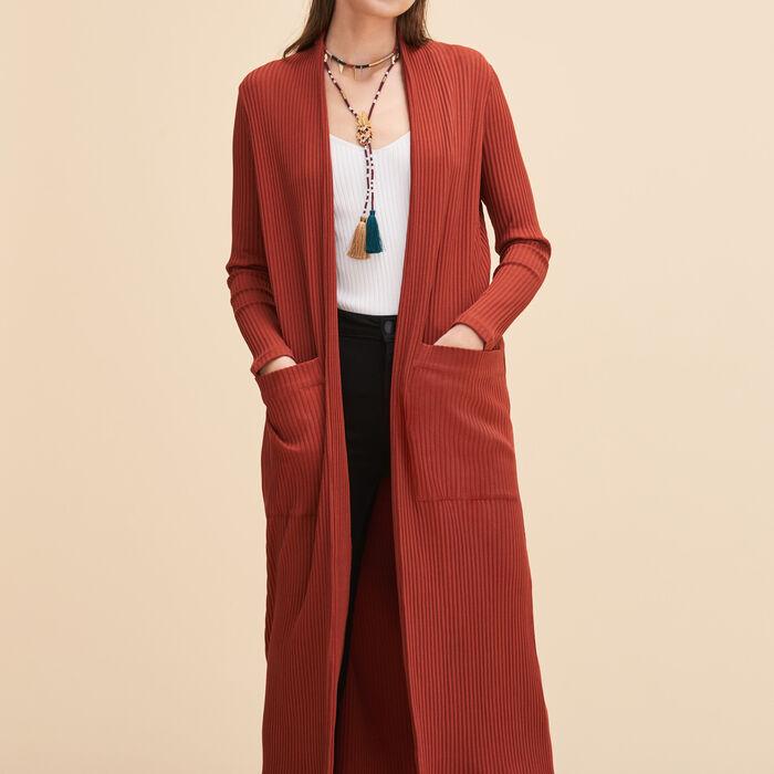 Long tube-knit cardigan -  - MAJE