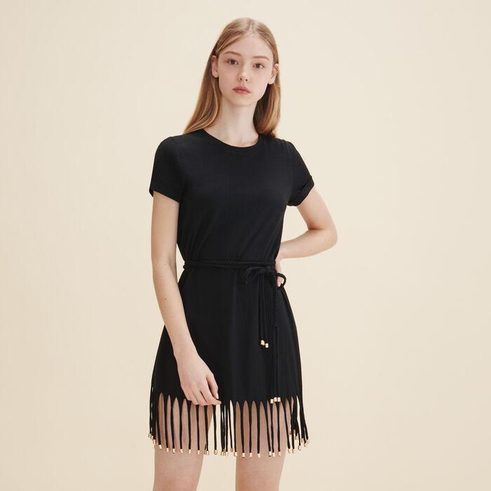 Dress with iridescent fringing -  - MAJE