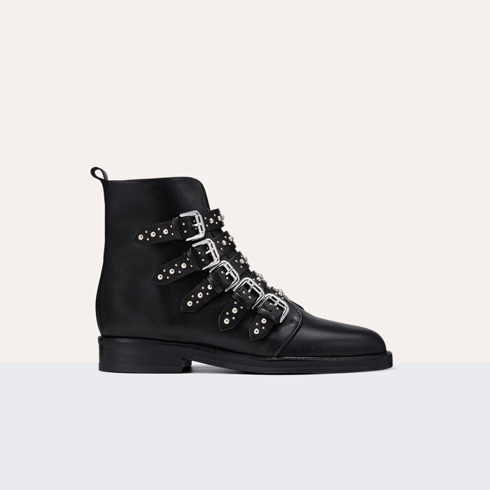 Leather ankle boots with studs -  - MAJE