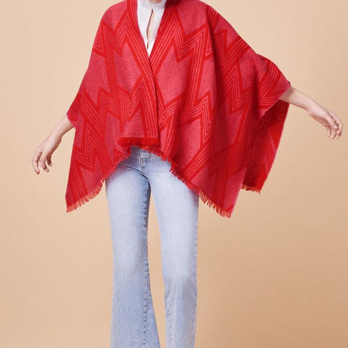 Two-tone wool blend poncho - -40% - MAJE