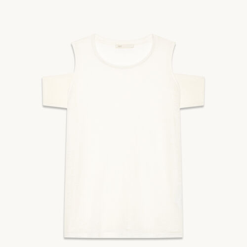 Linen off-the-shoulder T-shirt - Tops - MAJE