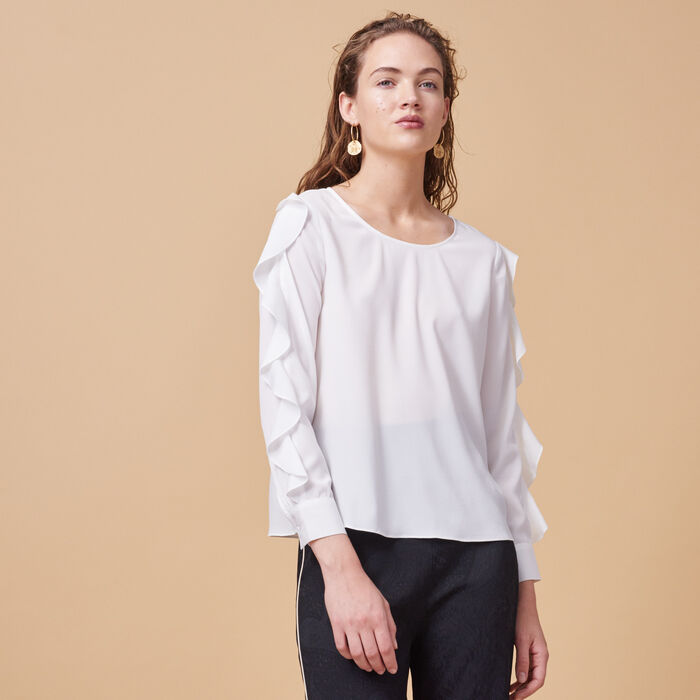 Blouse with flounced sleeves -  - MAJE