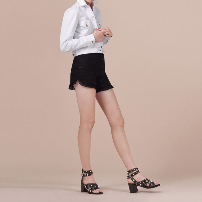 Flounced high-waisted shorts -  - MAJE