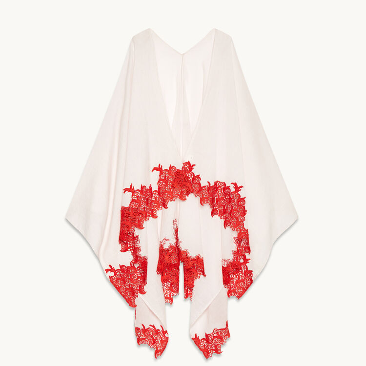 Poncho with lace - Scarves - MAJE