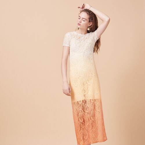 Long tie-dye lace dress - Dresses - MAJE
