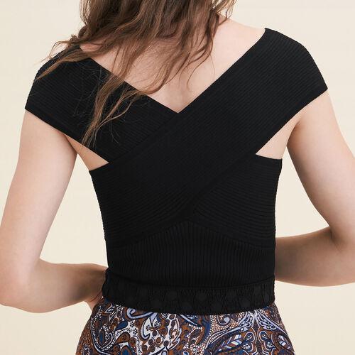 Ribbed knit sleeveless top - Knitwear - MAJE