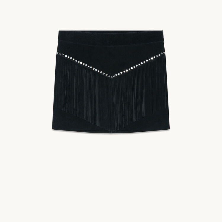 Suede skirt with fringes - Skirts & Shorts - MAJE