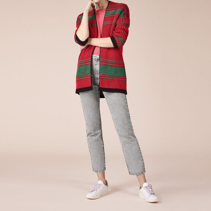 Two-tone moss stitch knit cardigan -  - MAJE