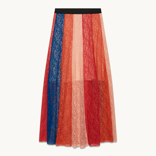 Long skirt with lace bands - Skirts & Shorts - MAJE