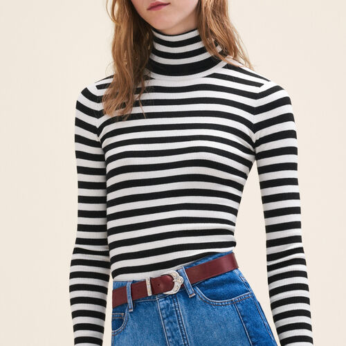 Striped roll-neck jumper - Knitwear - MAJE