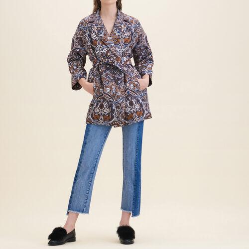 Long jacquard jacket - Coats - MAJE