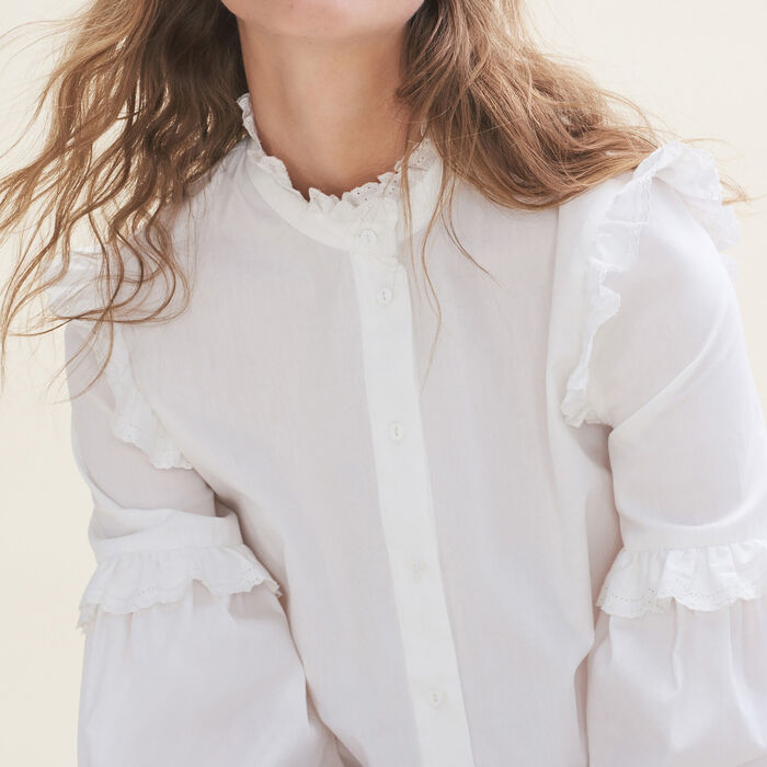 Poplin shirt with frills -  - MAJE