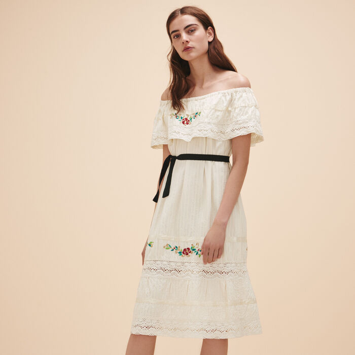 Dress with lace and embroidery - Dresses - MAJE