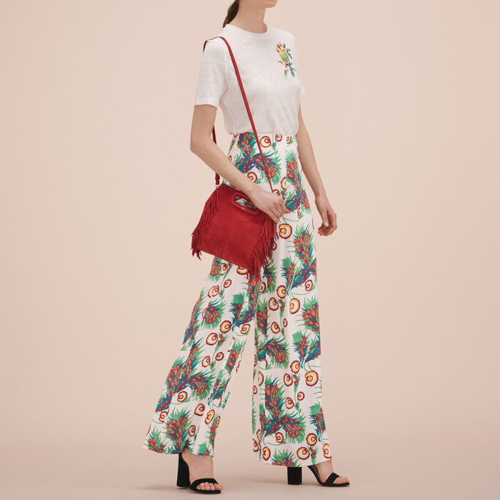 Printed wide-leg trousers - Trousers - MAJE