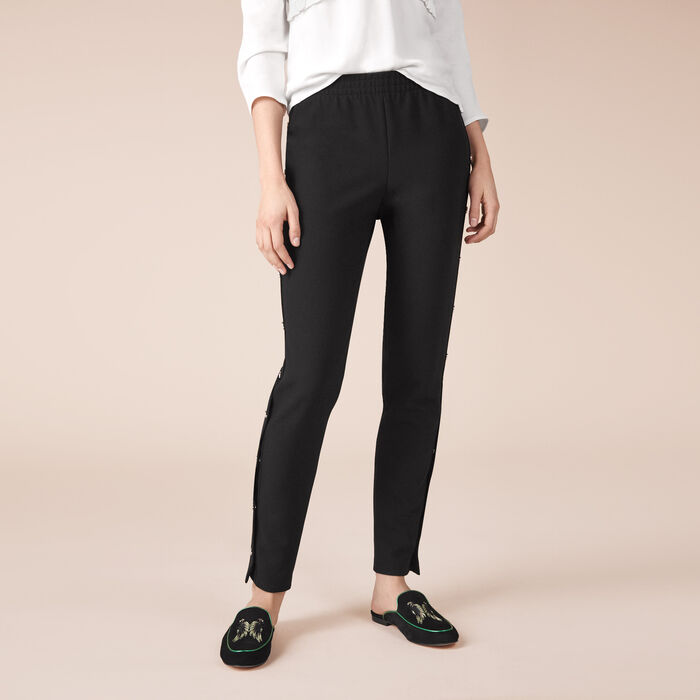 Crêpe trousers with press studs -  - MAJE