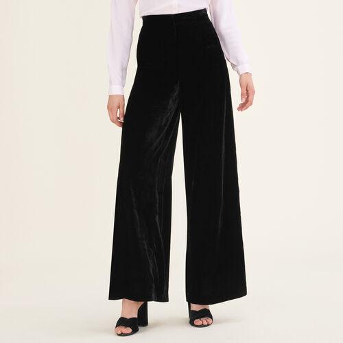 Wide-leg velvet trousers - Trousers - MAJE