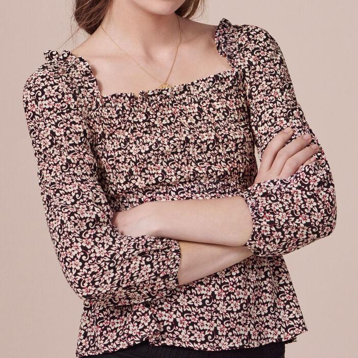 Long-sleeved printed top - Tops - MAJE