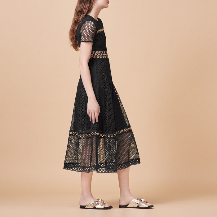 Long embroidered dress - The little black dresses - MAJE