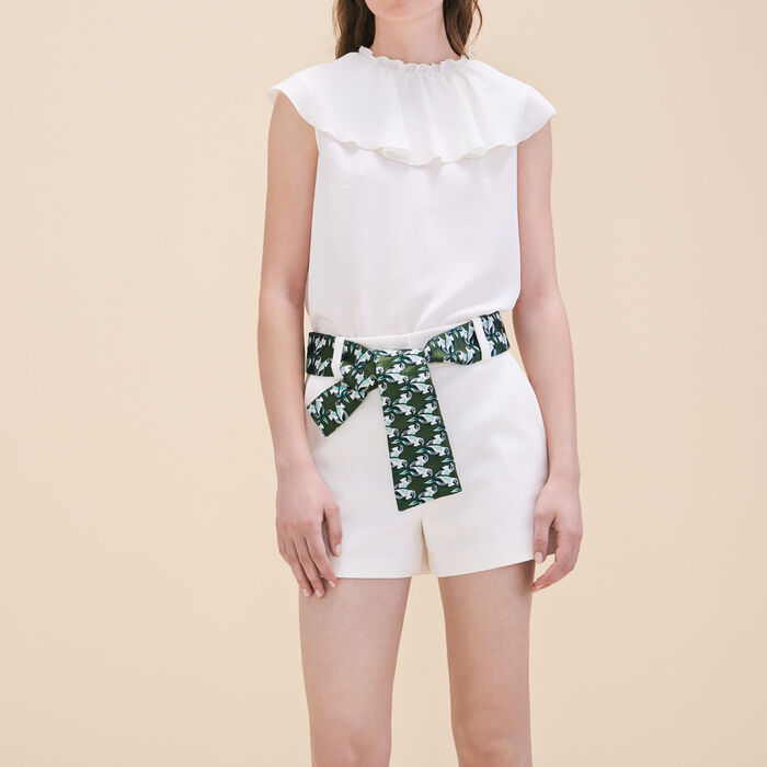 Shorts with jacquard belt - Skirts & Shorts - MAJE
