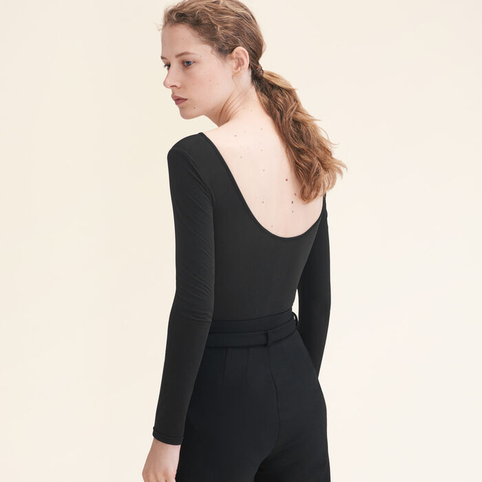 Long-sleeved jersey body -  - MAJE