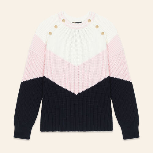 Tricolour jumper with press studs - null - MAJE