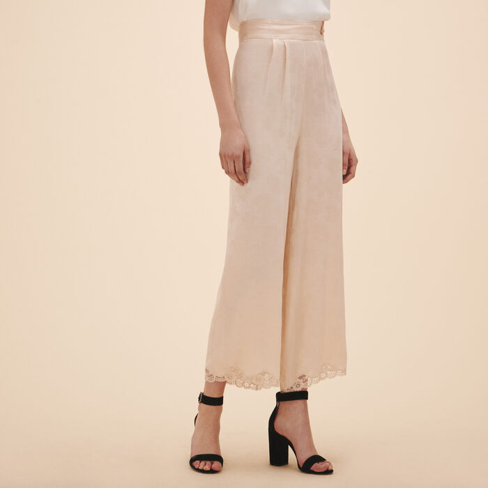 Wide-leg satin jacquard trousers -  - MAJE