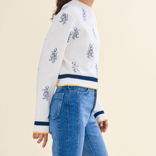 Short sweatshirt with tiger embroidery - Knitwear - MAJE