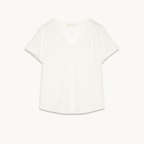 Detailed cotton T-shirt - Tops - MAJE