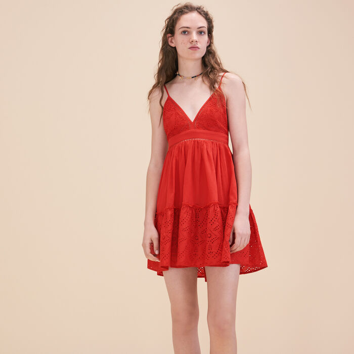 Embroidered dress with narrow straps -  - MAJE