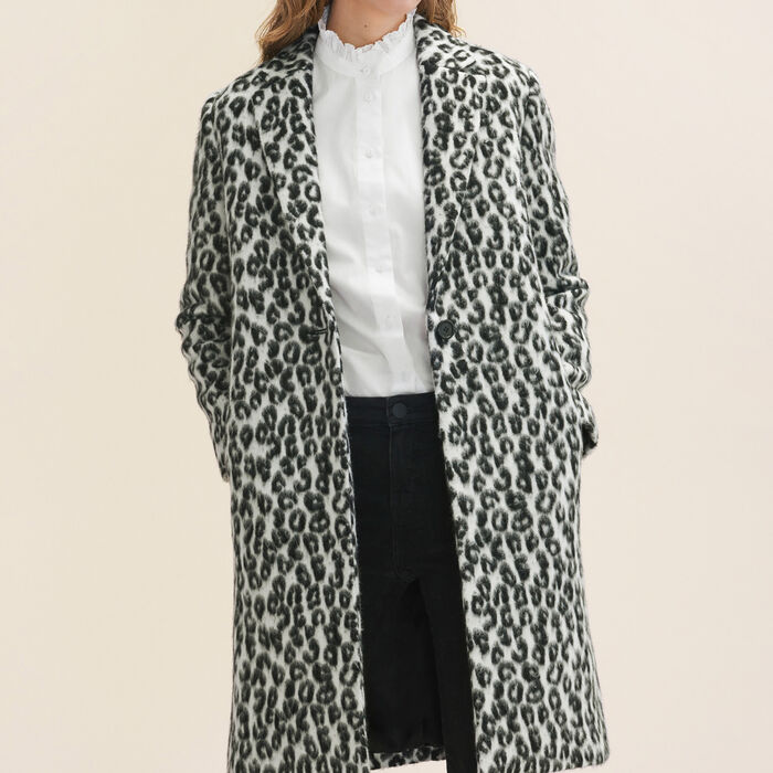 Leopard-print frock coat - Coats - MAJE