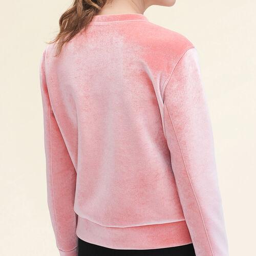 Straight-cut velvet sweatshirt. - Knitwear - MAJE