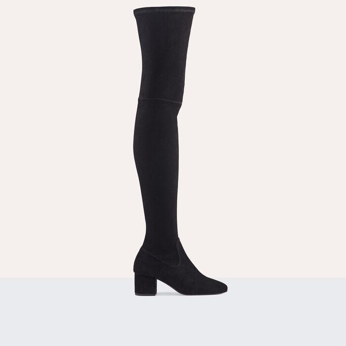 Flat suede calfskin thigh boots -  - MAJE