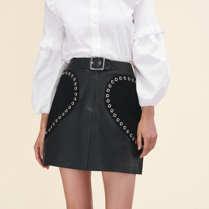 Leather A-line skirt -  - MAJE
