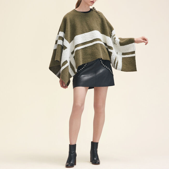 Poncho with a mix of fabrics -  - MAJE