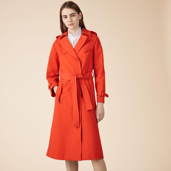 Cotton trench coat - Coats - MAJE