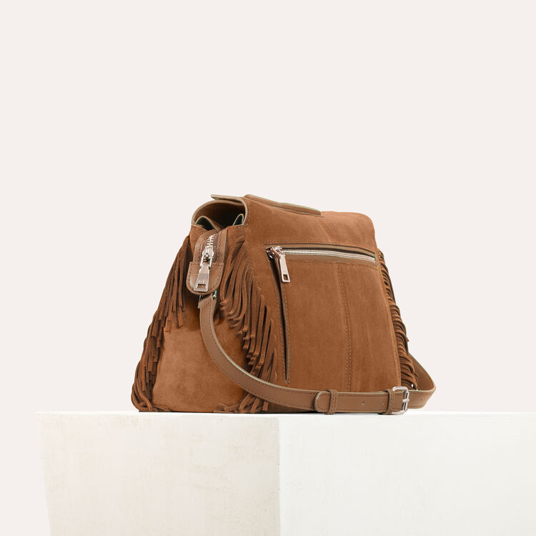 Suede shoulder bag -  - MAJE