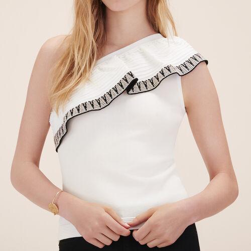 Asymmetrical frilled jumper - Knitwear - MAJE
