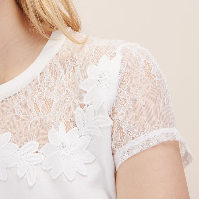T-shirt with lace and embroidery -  - MAJE