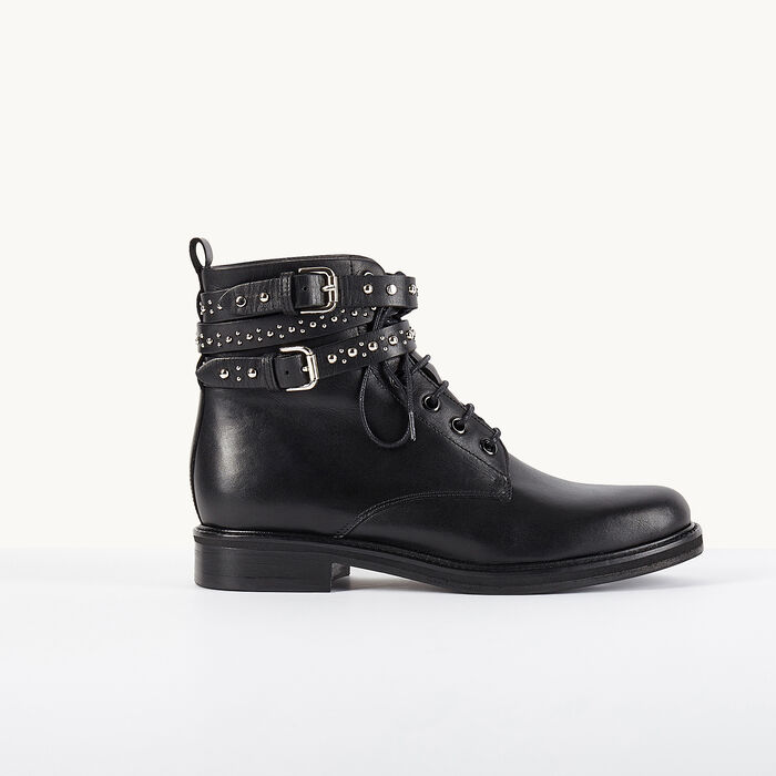 Leather ankle boots with studded straps -  - MAJE